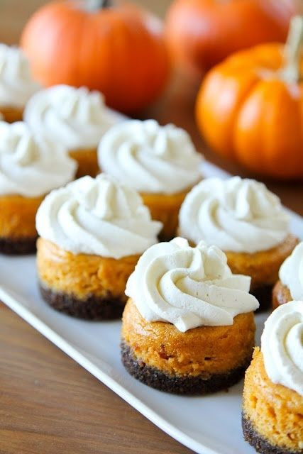 Mini Pumpkin Cheesecakes   Cupcake Canyon - replace the cookie in the crust with gluten free cookie