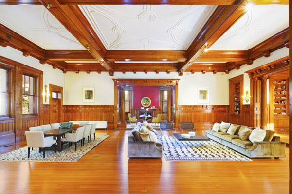Coffered ceilings using heavy cedar beams