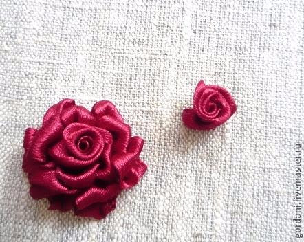 Rose flower.  ribbon embroidery (18) (442x352, 184Kb)