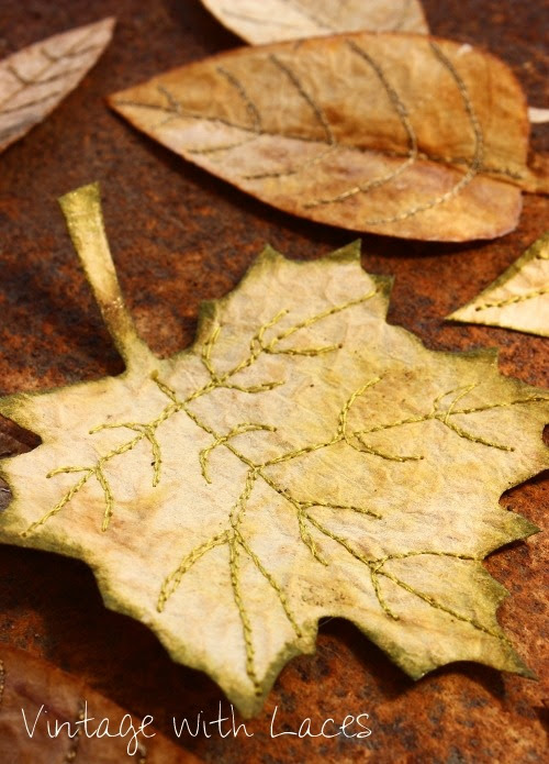 Upcycled Tea Bag Fall Leaves by Vintage with Laces