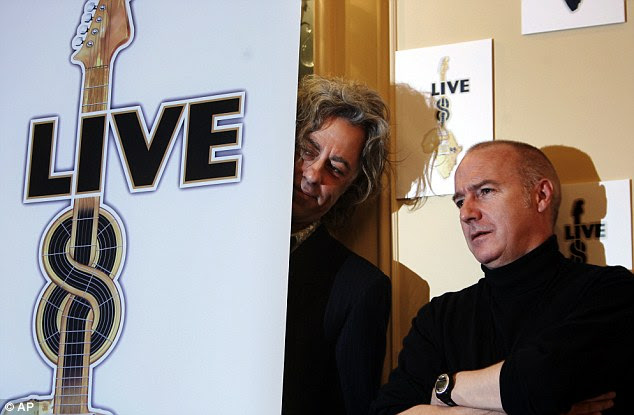 Not again? Geldof, left, and Midge Ure repeated their mistake with Live 8 but this time around people asked questions about its motives