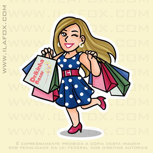 caricatura fofinha, caricatura, caricatura mulher fazendo compras, mulher com sacolas de compras, ila fox