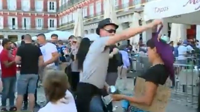One of the Club Brugge fans that caused trouble at Plaza Mayor in midweek has been identified as a Belgian police officer.
