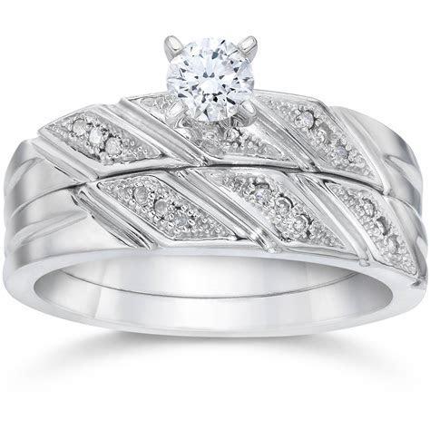 1/5ct Diamond Engagement Ring Matching Wedding Band Set