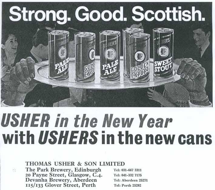 Ushers canned beer range, 1970