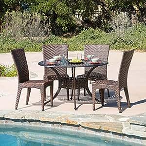 Amazon.com : Hailey 5 Piece Outdoor Patio Dining Set ...