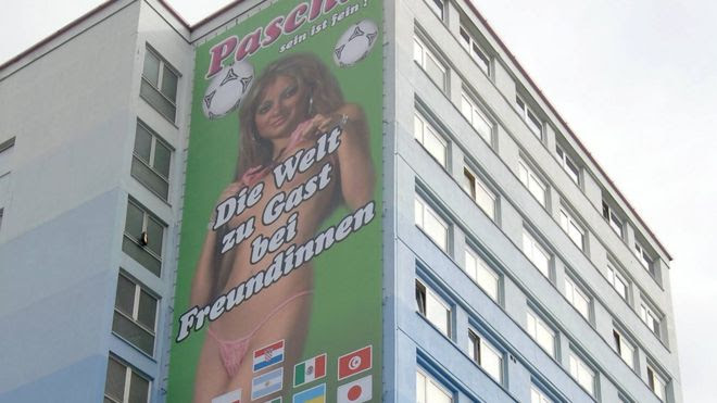 A giant billboard advertising a brothel in Cologne, 2006