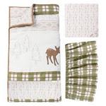 TrendLab 102381 Deer Lodge 3 Piece Crib Bedding Set Brown Green & Orange