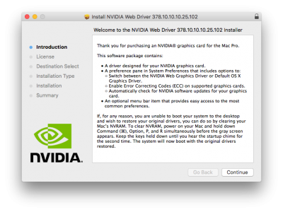 NVIDIA Releases Alternate Graphics Drivers for macOS High Sierra 10.13.2 (378.10.10.10.25)