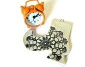 Halloween Lace Boot Ceramic Ornament Flower Lace Black and White Pottery - Ceraminic