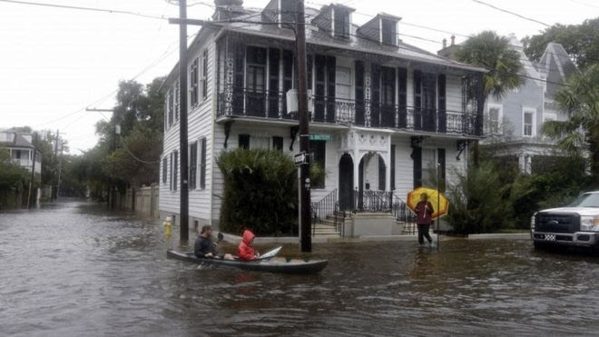 A flooded street in Charleston, 3 October