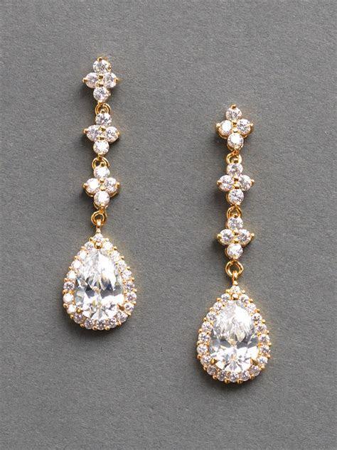 CZ Gold Wedding Earrings   Shop Bridal Jewelry Wholesale
