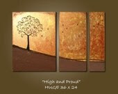 High and Proud - HUGE 38 x 24, Acrylic Triptych painting canvas, gallery wrapped and ready to hang, ORIGINAL and HUGE, One of a Kind - Please see close ups