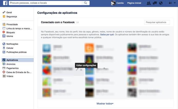Veja os aplicativos que estão conectados ao Facebook (Foto: Reprodução/Camila Peres)