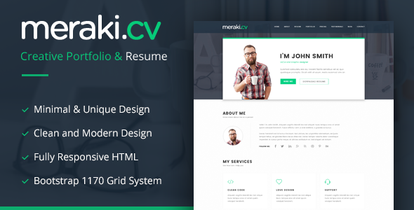 Meraki v1.3 - One Page Resume WordPress Theme