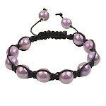 Light Purple Violet Beads Black Cord Macrame Beaded Bracelet