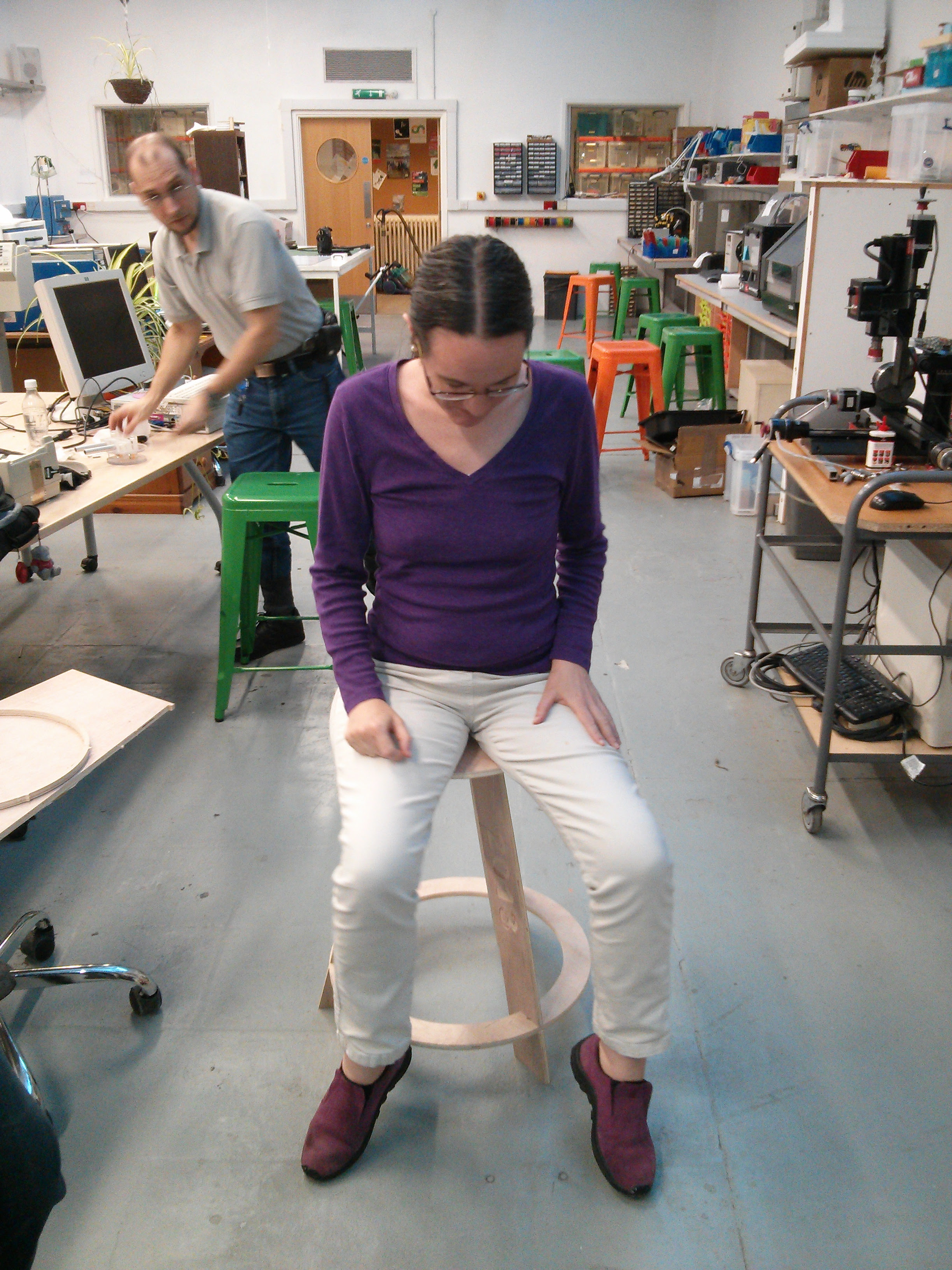 Anne Harrison volunteering to try the wobbly stool of doom