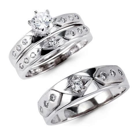 14K Solid White Gold CZ Engagement Wedding 3 Ring Set, 14k