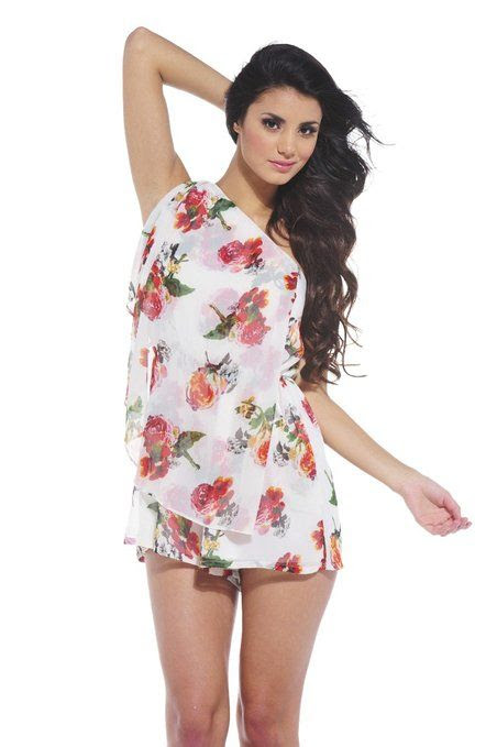 AX Paris Women's Asymmetric Floral Chiffon Romper: Clothing