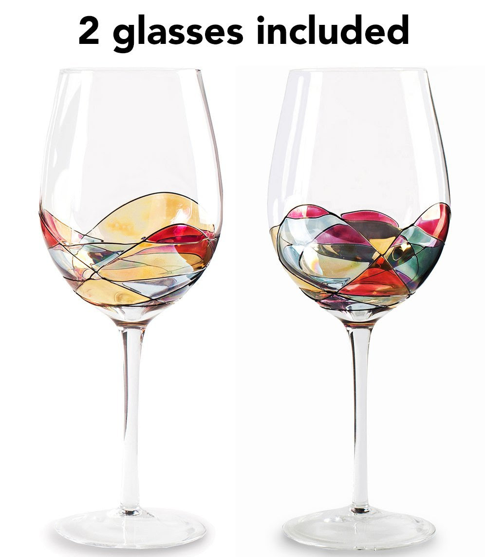 Beautiful Hand Painted Large Wine Glasses