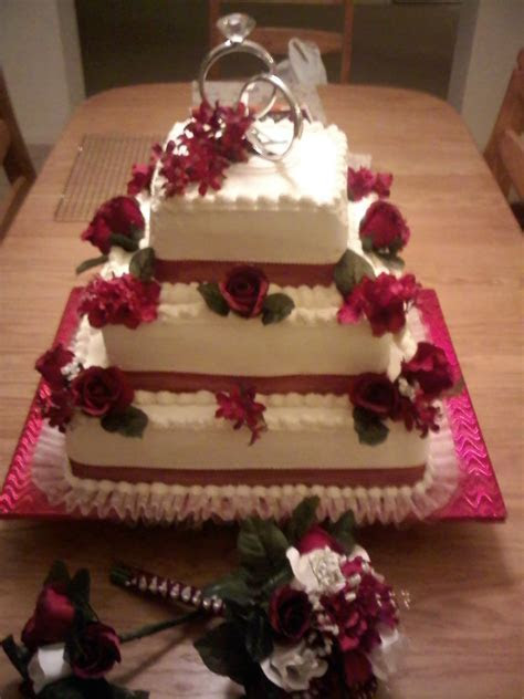 3 Tier Square Stacked, White Cake, Bavarian Cream Filling