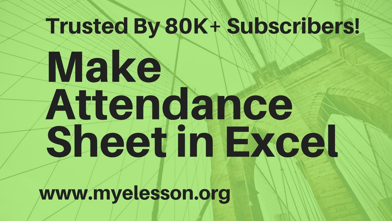 How To Make Attendance Sheet In Excel Hindi - YouTube