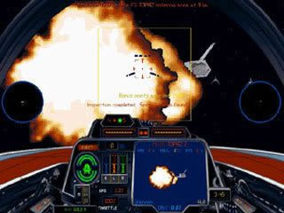 From within an A-Wing cockpit, we see a Nebulon-B Frigate explode.