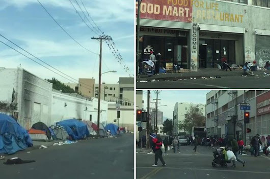 Shocking scale of Los Angeles' homeless problem revealed in Christmas dashcam footage showing 'tent city' wher