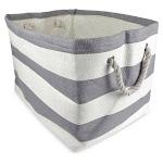 "DII 15"" Rectangle Modern Paper Large Stripe Basket in Gray Finish - CAMZ35703"