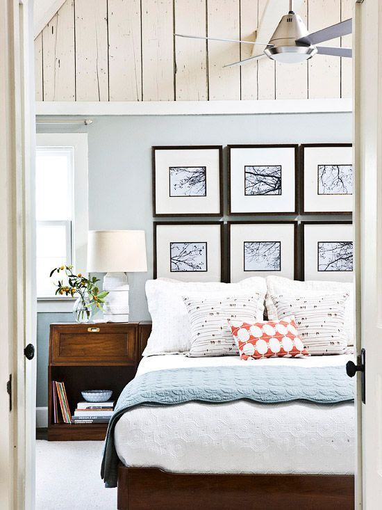 I like the collage of pictures and the wood towards the ceiling.