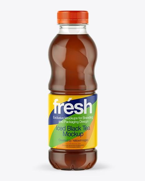Download 0,5L Iced Black Tea Bottle Mockup Object Mockups