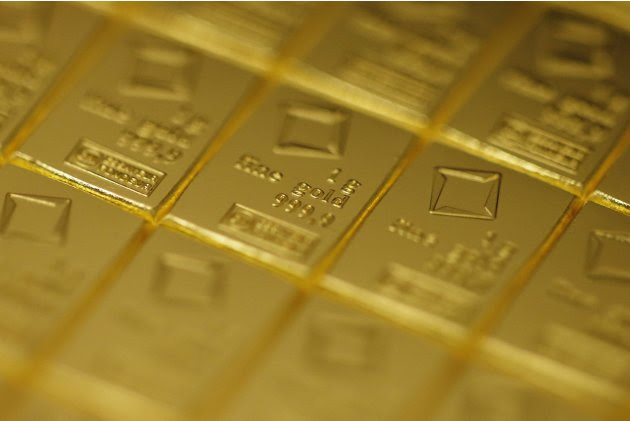A gold Combibar is seen at a plant of gold refiner and bar manufacturer Valcambi SA in the southern Swiss town of Balerna