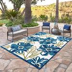 Elements Indoor/Outdoor Dasia Floral Area Rug, Blue, 7'10x10'