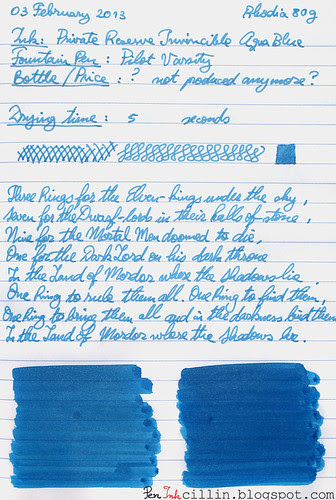 Private Reserve Invincible Aqua Blue on Rhodia