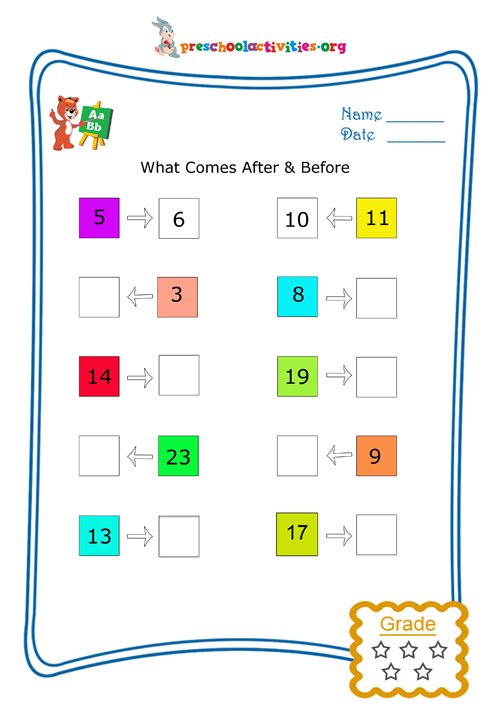 What comes after and before (Numbers) - Free worksheet | Preschool activities