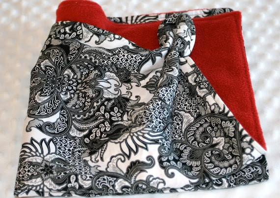RESERVED for ZUCCHINI SUMMER Wooby Security Blanket White and Black Damask Wooby  for a Baby Girl