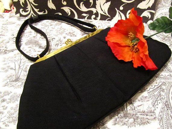 Vintage purse black Audrey Hepburn style by KarensChicNShabby, $30.00