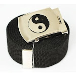 """Ying Yang"" Canvas Military Black Web Belt & Buckle 150cm"