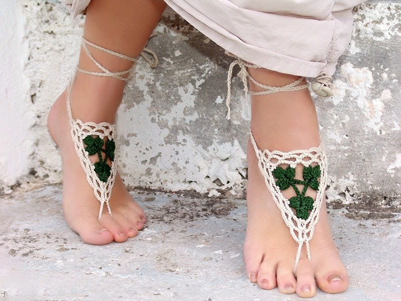 Barefoot sandals, Crochet Tan Green, wedding barefoot sandles, sexy,  yoga, anklet , steampunk sandals, beach pool, st patricks day