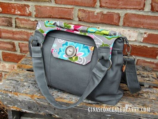 Concealed Carry Purse Solid Gray w/ Floral by GCCginascraftcorner