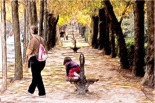 una mañana de otoño en el retiro madrileño