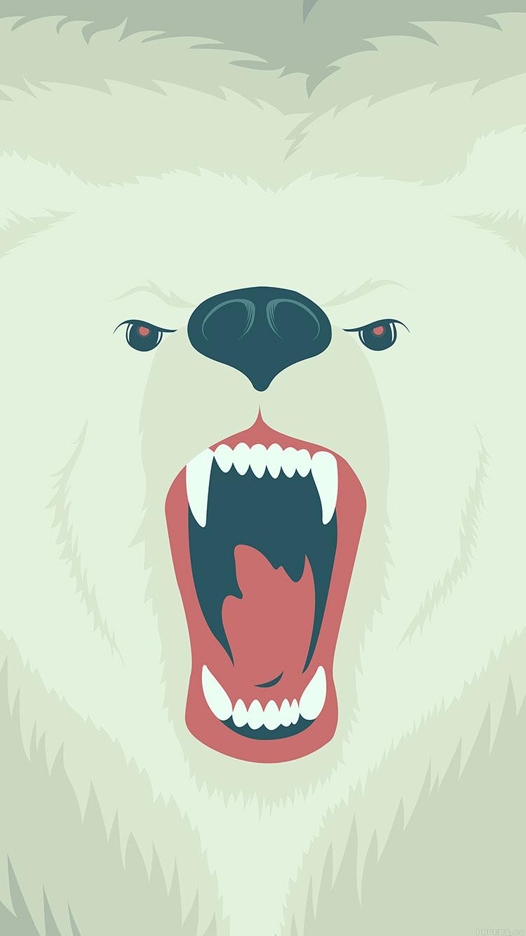 咆哮する白熊のイラスト Iphone6壁紙 Wallpaperbox