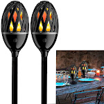 Luceco (2 Pack) LED Tiki Torches Flickering Flame Indoor Or Outdoor Lights, Patio Lights For Table Or Ground Stake