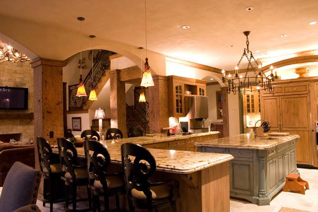 Lodge Style Lake House - traditional - kitchen - oklahoma city
