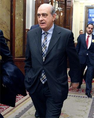 El ministro del Interior, Jorge Fernández Díaz, a su llegada al Congreso de los Diputados. -