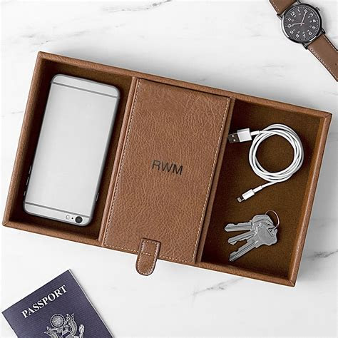 Mens Vegan Leather Valet Tray & Charging Station Personalized