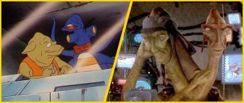 Bi-lingual alien sports commentators, similar to the podrace in TPM.