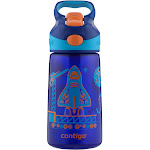 Contigo Kids Water Bottle, Striker No-Spill, Sapphire with 2C Blast Off Graphic, 14 Ounce