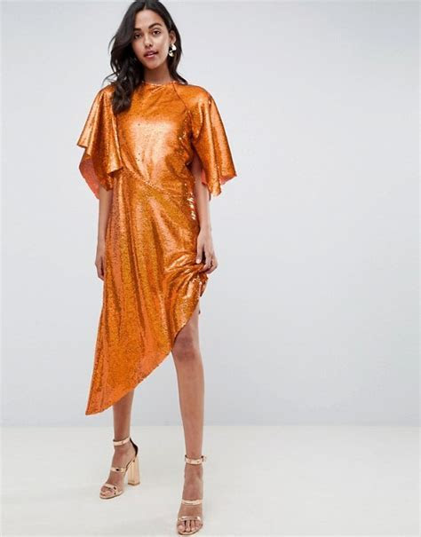 ASOS EDITION   ASOS EDITION Sequin Asymmetric Midi Dress