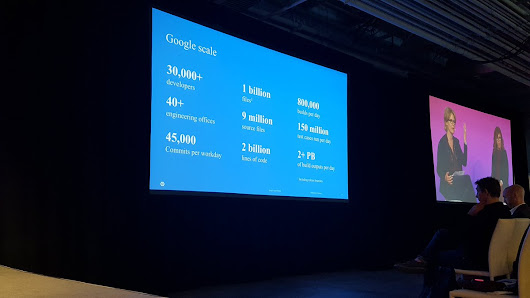 "Richard Seroter on Twitter: """"Google scale"" never ceases to wow me. 30k devs, 800k builds a day, 150m test cases run each day. More from @mmeckf at #FS16sf """